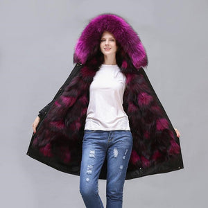 2020 New Long Fox Fur Full-Lined and Raccoon Fur Trimmed Parka