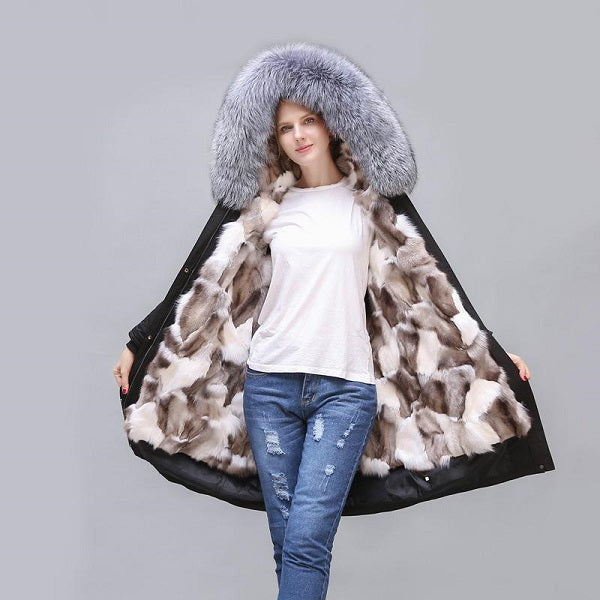 2020 New Long Fox Fur Full-Lined and Trimmed Parka