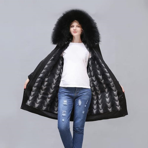 2020 New Long Rabbit Fur Full-Lined and Raccoon Fur Trimmed Parka