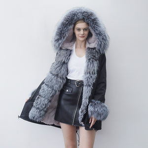 Rabbit Fur Full-Lined and Fox Fur Trimmed Parka
