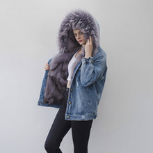 Load image into Gallery viewer, Fox Fur Full-Lined and Raccoon Fur Trimmed Denim Parka