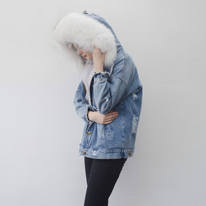 Fox Fur Full-Lined Denim Parka