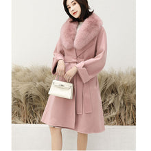Load image into Gallery viewer, 2020 New Cashmere Coat with Fluffy Fox Collar