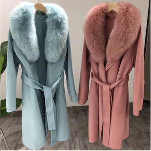 2020 New Cashmere Coat with Fluffy Fox Collar