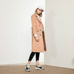 2020 New Double Face Camel Wool Coat