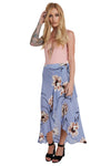 Blue Maxi Wrap Skirt