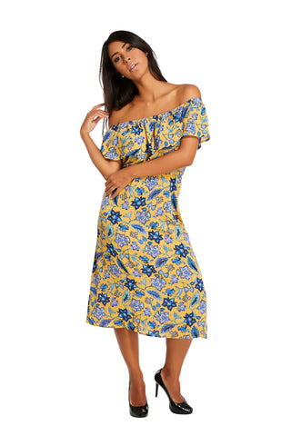 Natalia Off Shoulder Midi Dress Blue Yellow