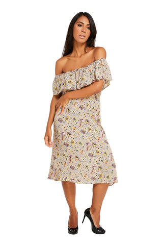 Natalia Midi Dress Off Shoulder Rose