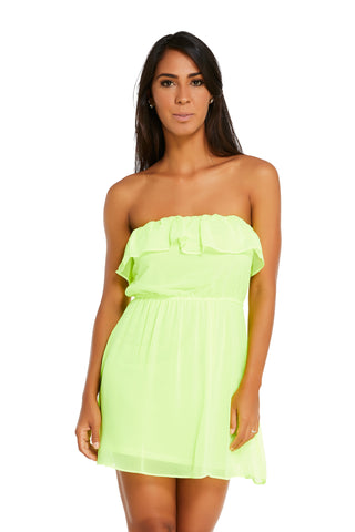 Anastacia Neon Yellow Strapless Bubble