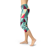 Womens Capri Leggings w/ Geometric Triangles