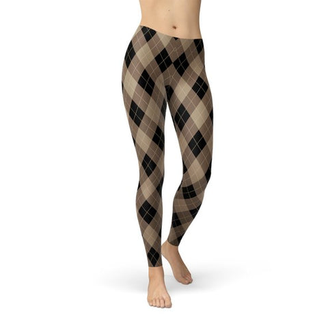 Womens Beige Brown Argyle Leggings