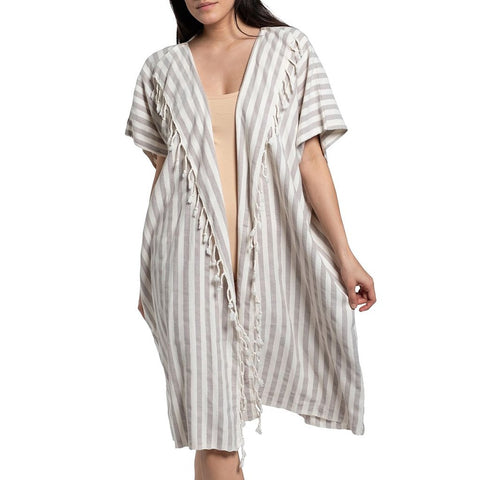 Sand Nautical Stripe Turkish Kimono