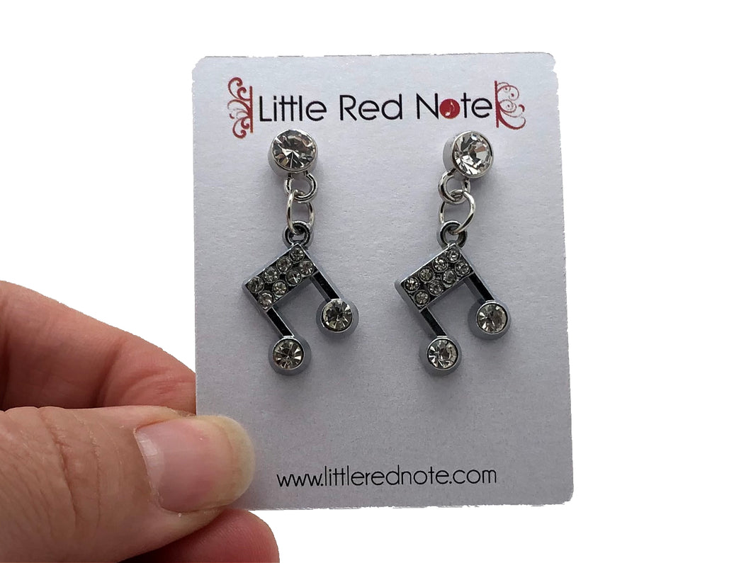 Dangle CZ Sixteenth Note Eighth Note Earrings