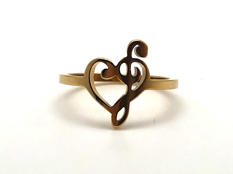 Stainless Steel Treble Bass Heart - Gold