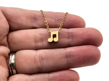 Load image into Gallery viewer, Eighth Notes Mini Stainless Steel Necklace - Gold