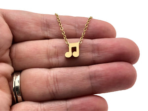 Eighth Notes Mini Stainless Steel Necklace - Gold