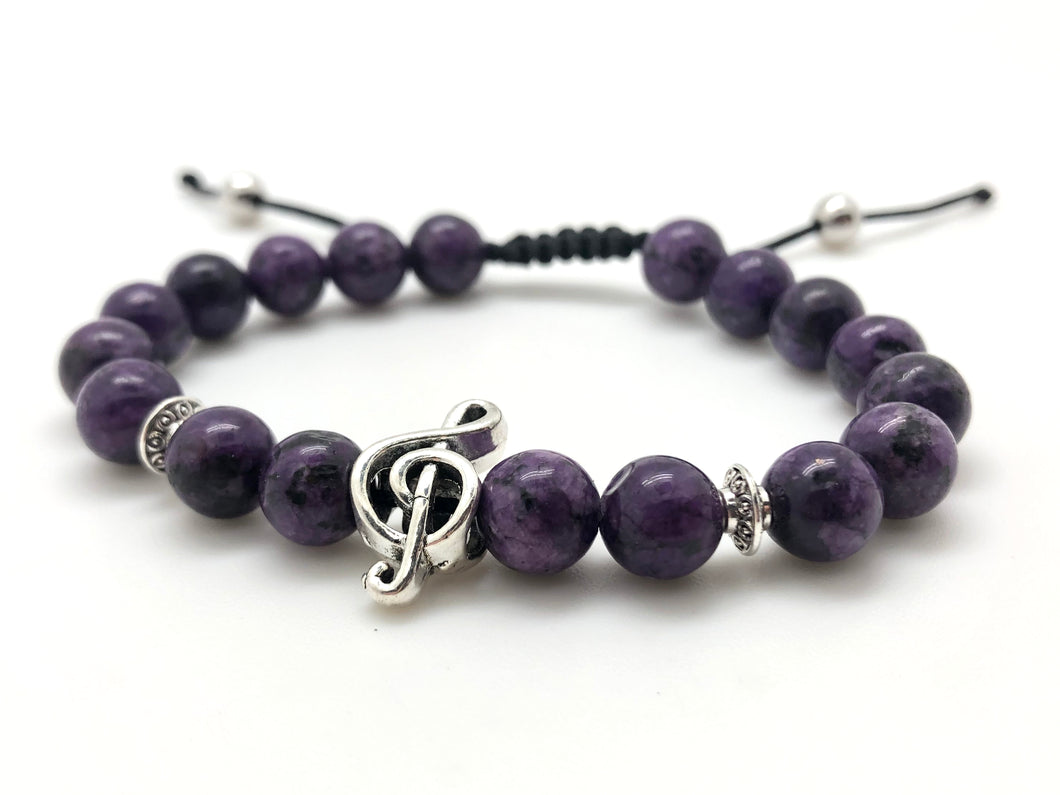 Beaded Purple Bracelet Treble Clef