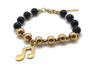 Beaded Black and Gold Bracelet Beamed Eighth Note