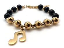 Load image into Gallery viewer, Beaded Black and Gold Bracelet Beamed Eighth Note