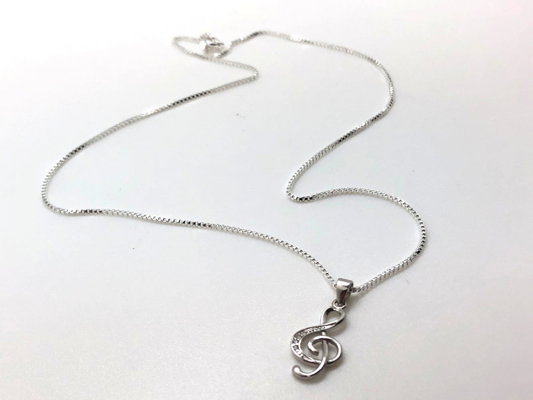 925 Sterling Silver Treble Clef CZ Necklace