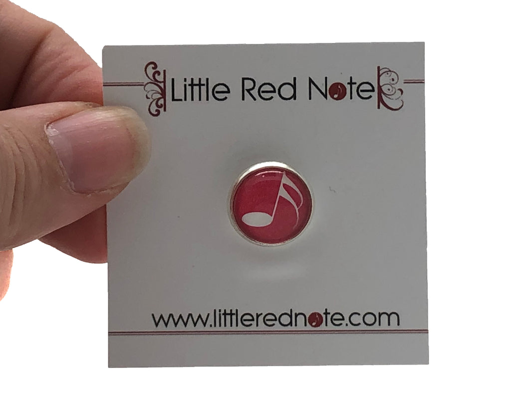 Sixteenth Note Lapel Pin - Red