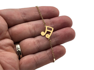 Stainless Steel Chain Bracelet Sixteenth Notes - Gold