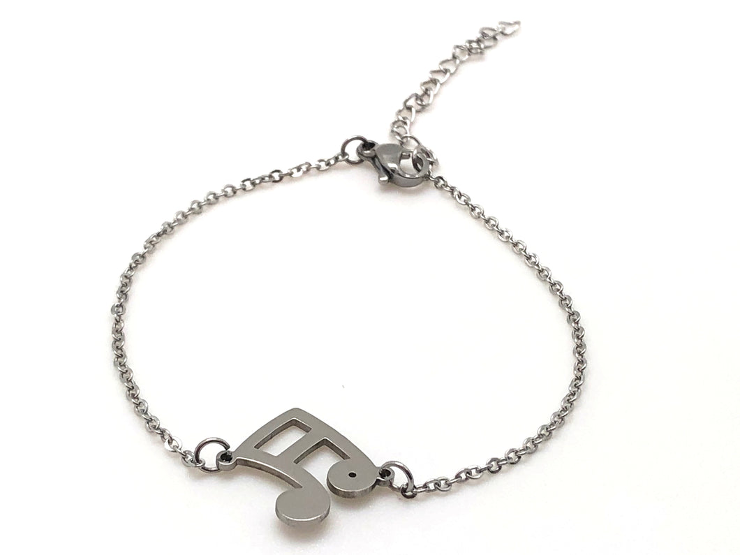 Stainless Steel Chain Bracelet Sixteenth Notes - Silver