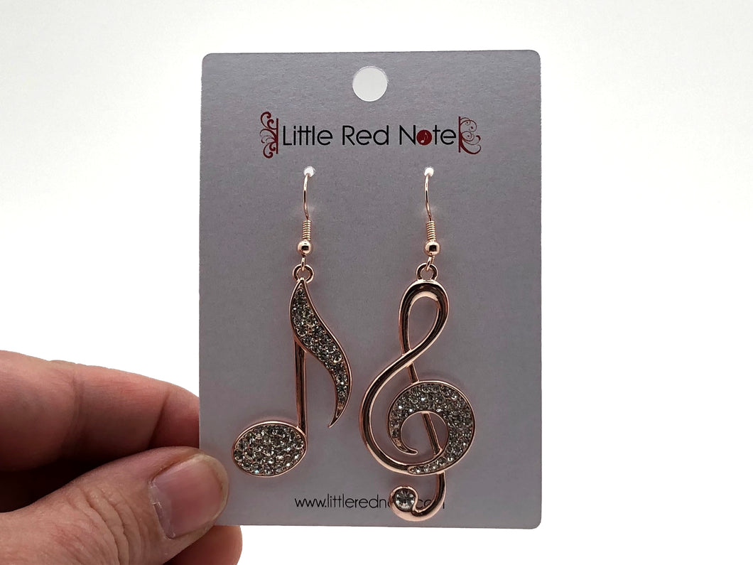 Treble Clef Large Dangle Earrings - Rose Gold