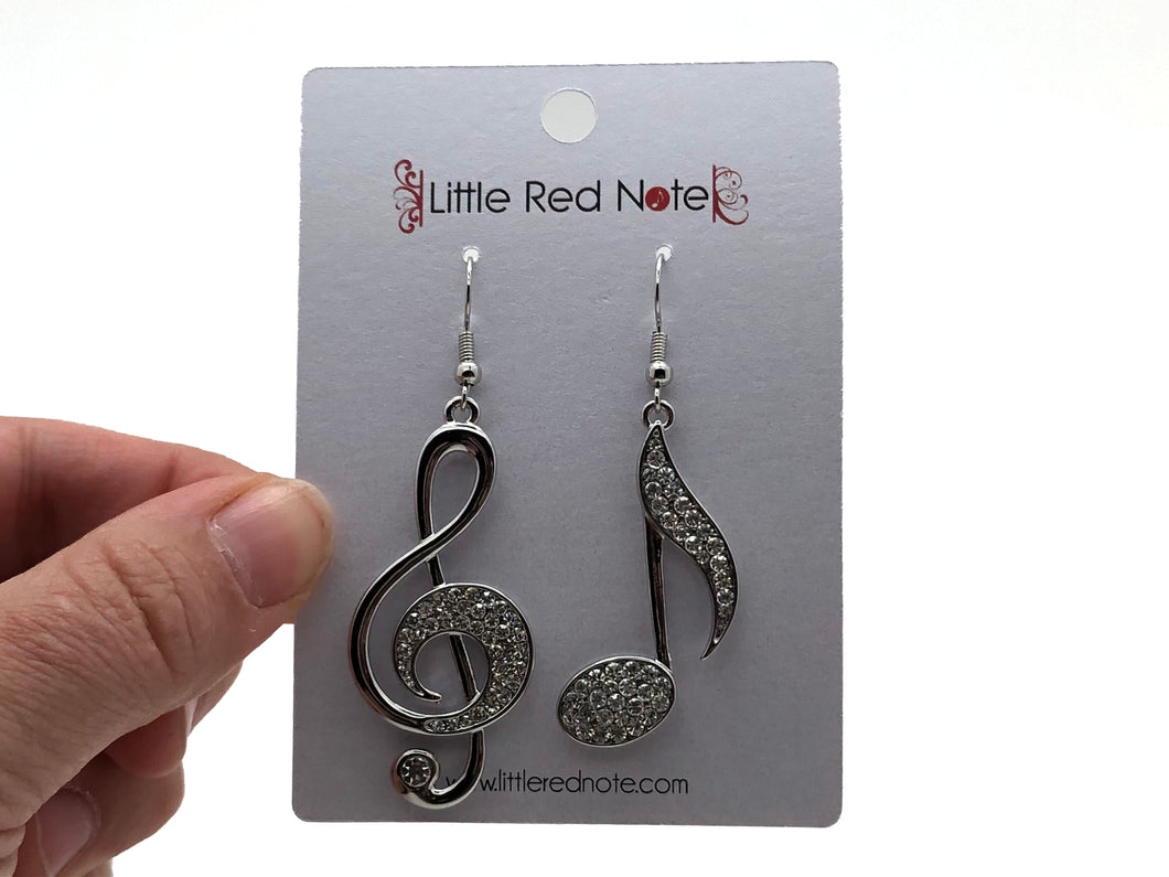 Large Treble Clef Dangle Earrings - Silver