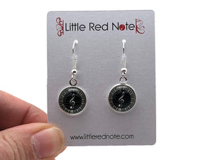 Cabochon Dangle Silver Earrings - Treble Clef