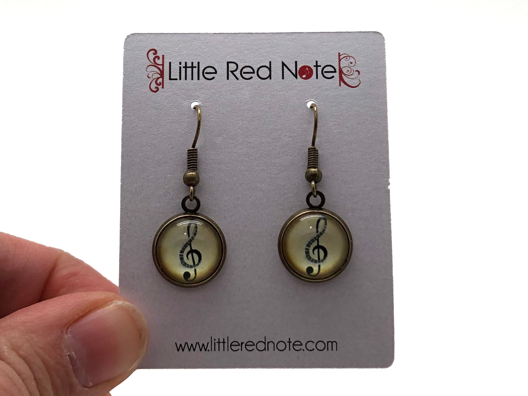 Cabochon Dangle Antique Gold Earrings - Treble Clef