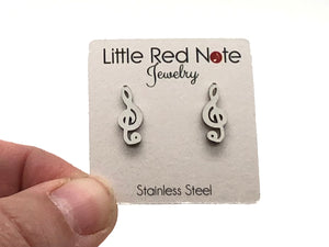 Stainless Steel Post Earrings Treble Clef - 14mm