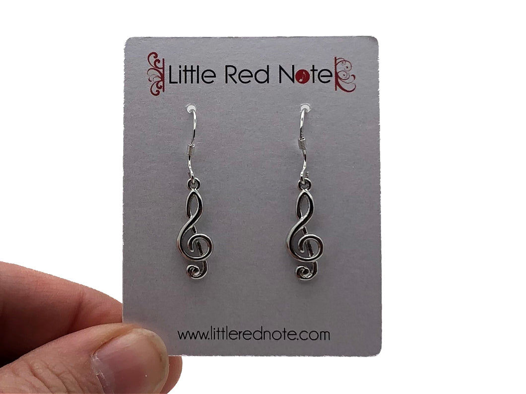 Treble Clef Dangle Earrings - Silver