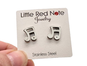 Stainless Steel Post Earrings Sixteenth Notes - 10mm
