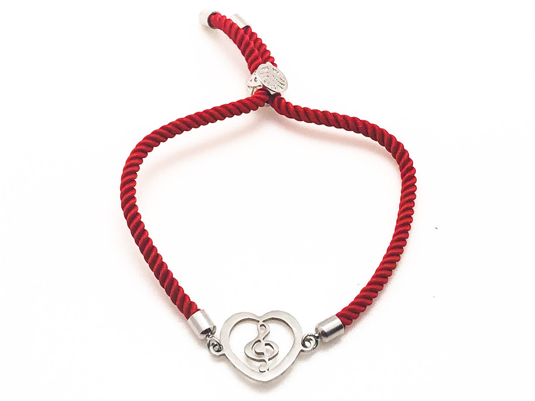 Stainless Steel Treble Clef Heart Adjustable Bracelet