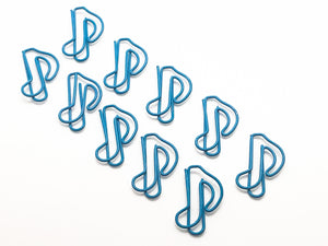 Eighth Note Paper Clips - set of 10 - Light Blue