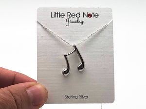925 Sterling Silver Eighth Note Beam Necklace