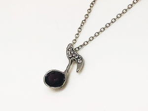 Eighth Note Rhinestone Necklace - Purple