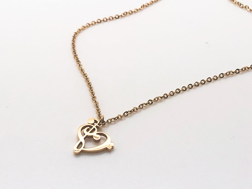 Stainless Steel Treble Bass Clef Heart Necklace - Gold