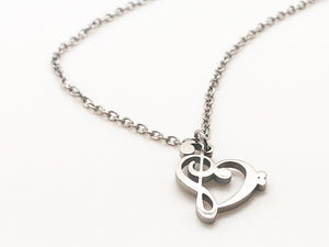 Stainless Steel Treble Bass Clef Heart Necklace