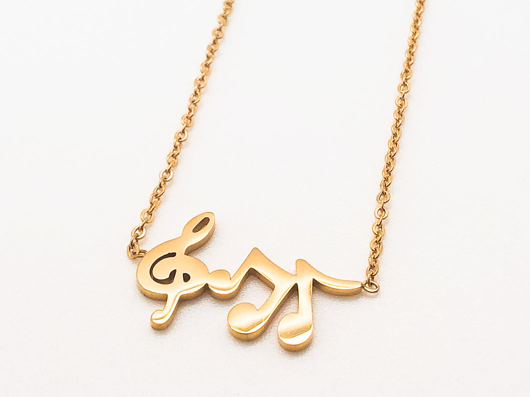 Stainless Steel Treble Notes Necklace - Gold