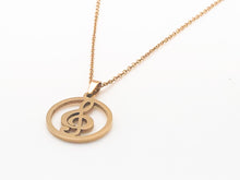 Load image into Gallery viewer, Stainless Steel Treble Clef Circle Necklace - Gold