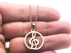 Stainless Steel Treble Clef Circle Necklace - Gold