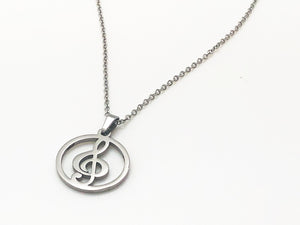 Stainless Steel Treble Clef Circle Necklace