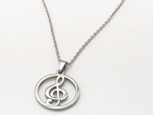 Load image into Gallery viewer, Stainless Steel Treble Clef Circle Necklace