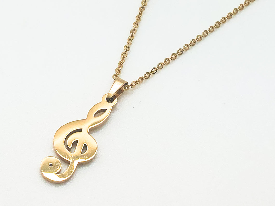 Stainless Steel Treble Clef Necklace - Gold