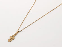 Load image into Gallery viewer, Stainless Steel Treble Clef Necklace - Gold