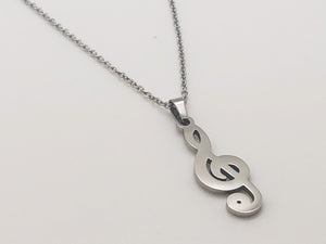Stainless Steel Treble Clef Necklace