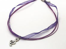 Load image into Gallery viewer, Treble Clef Purple Ribbon Necklace
