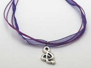 Treble Clef Purple Ribbon Necklace